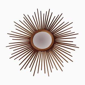 Französischer Mid-Century Spiegel mit Rahmen in Sonnen-Optik von Chaty Vallauris
