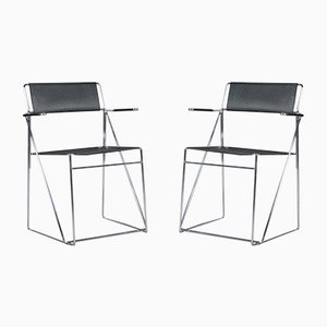X Line Stacking Chairs by Niels Jørgen Haugesen for Hybodan, 1970s, Set of 2