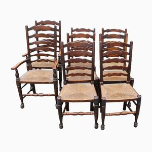 Oak Ladder Back Dining Chairs, 1920s, Set of 8
