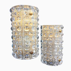Crystal & Brass Sconces by Carl Fagerlund for Orrefors, 1960s, Set of 2