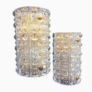 Wandlampen aus Kristallglas & Messing von Carl Fagerlund für Orrefors, 1960er, 2er Set