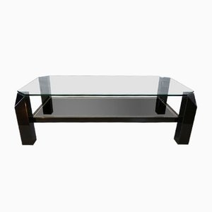 Table Basse Sculpturale Noire et Plaquée Or de Belgo Chrom & Dewulf Selection, 1970s