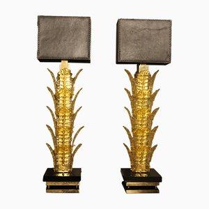 Gelbe Tischlampen aus Muranoglas, 1970er, 2er Set