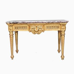 19th-Century Console Table with Carved and Gilt Marble Top