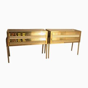 Cómodas italianas de latón dorado y cristal de Murano, años 70. Juego de 2