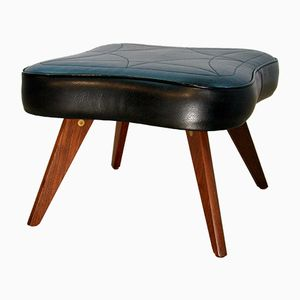 Danish Ottoman in Rosewood and Black Leatherette, 1960s