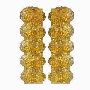 Apliques de cristal de Murano amarillo y latón, años 70. Juego de 2