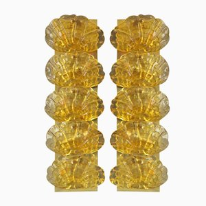 Yellow Murano Glass and Brass Sconces, 1970s, Set of 2