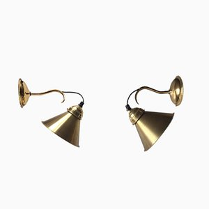 Vintage Danish Brass Wall Lights from Gift Line, 1970s, Set of 2