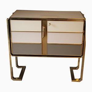 Italian Brass and Murano Glass Cabinet, 1970s