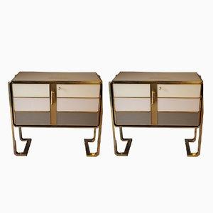Mobili in ottone e vetro di Murano, Italia, anni '70, set di 2