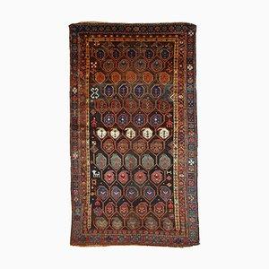 Alfombra kurda antigua hecha a mano, década de 1880