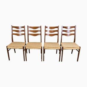 Sedie da pranzo Mid-Century in teak, set di 4