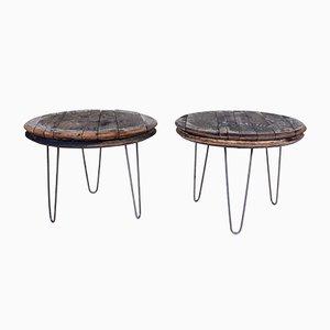 Tables Basses Industrielles Vintage avec Couvercles en Chêne pour Tonneau de Whisky, Set de 2