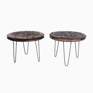 Vintage Industrial Coffee Tables with Oak Whiskey Barrel Lids, Set of 2