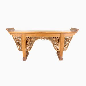 Large Chinese Console Table in Heavily Carved Elm