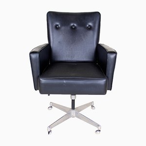 Sedia girevole da ufficio vintage in metallo cromato