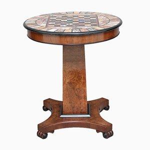 Tavolo da gioco con ripiano in noce e marmo, anni '20