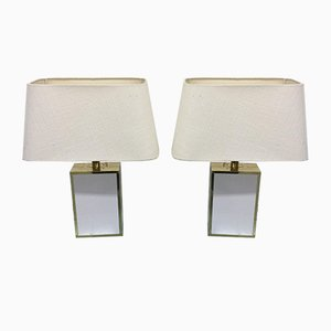 Acrylic & Brass Table Lamps, 1980s, Set of 2
