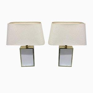 Lampade da tavolo in acrilico e ottone, anni '80, set di 2
