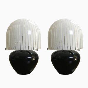 Tischlampen aus Muranoglas von Punto Luce, 1970er, 2er Set