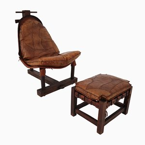 Cognac Leather Brazilian Chair and Ottoman, 1960s