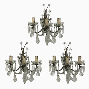 Vintage Crystal Sconces with Murano Drops, Set of 3