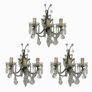 Vintage Wandlampen aus Kristallglas mit Muranoglastropfen, 3er Set