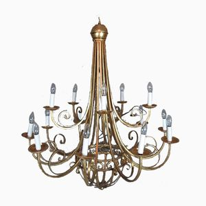 Vintage Gilded Wrought Iron Cage Chandelier