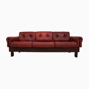 Red Leather Three-Seater Sofa, 1970s