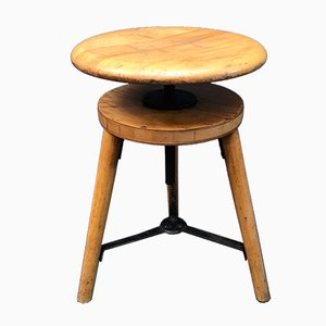 German Beech Swivel Stool, 1950s