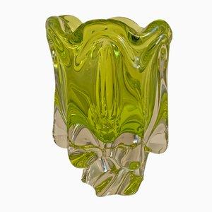 Vaso vintage giallo/verde in vetro di Murano