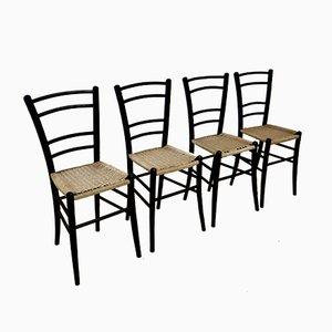 Vintage Stühle aus Schwarzholz von Cassina, 4er Set