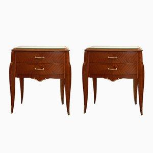 Tables de Chevet Art Deco en Acajou, Set de 2