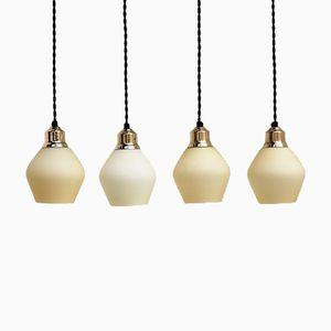 Lampes en Verre Opalin et Laiton, Danemark, 1940s, Set de 4