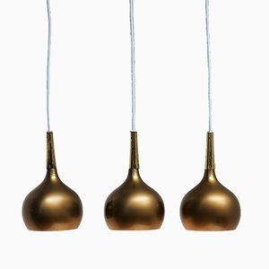 Small Swedish Bronze Colored Ball Pendants with Brass Tops by Hans Agne Jakobsson for Markaryd, 1960s, Set of 3