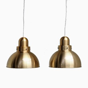 Danish Brass Colored Pendants, 1970s, Set of 2