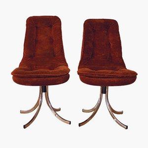Chaises Pivotantes en Velours par Gastone Rinaldi pour Rima, 1970s