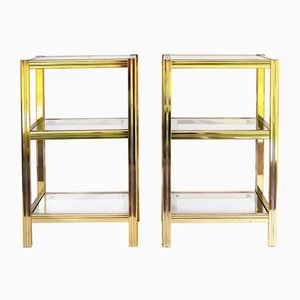 Vintage Brass and Glass Nightstands, 1970s, Set of 2