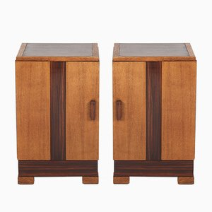 Art Deco Oak Bedside Tables, 1920s, Set of 2