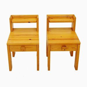 Solid Pine Bedside Tables with Drawers from NC Möbler, 1970s, Set of 2