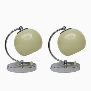 Austrian Art Deco Bedside Lamps in Chrome, Set of 2