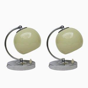 Österreichische Art Deco Nachttischlampen aus Chrom, 2er Set