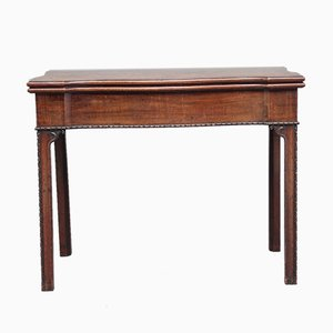 Antique Mahogany Serpentine Card Table, 1780s