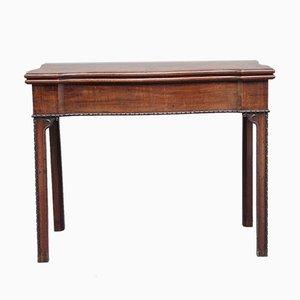 Mesa para cartas antigua sinuosa de caoba, década de 1780
