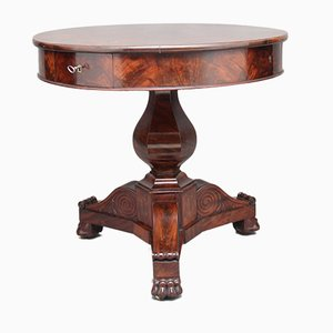 Antique French Mahogany Drum Table