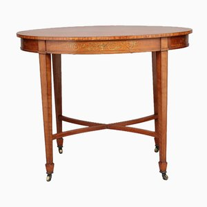 Antique Oval Satinwood Side Table on Wheels