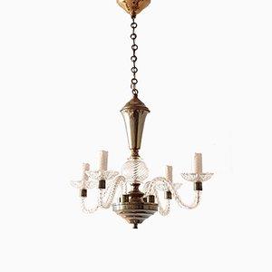 Lámpara de araña italiana Mid-Century de vidrio y latón, años 50