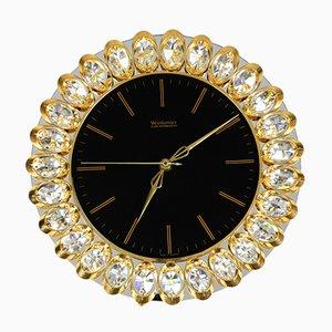 Horloge Murale Hollywood Regency en Verre de Weinfurtner Glaskunstwerkstätten, 1980s