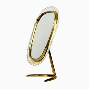 Large Mid-Century Brass Table Mirror from Münchner Zierspiegel